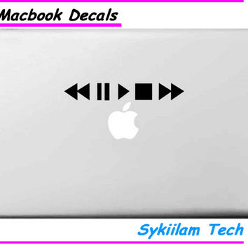 Play Button for Apple Vinyl Sticker for Macbook Skin Air 11 13 Pro 13 15 17 Retina Laptop Computer Table Creative Logo Decal