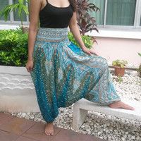 Jumpsuit And Pants Peacock Aladdin Drop Crotch Yoga Beggy Harem Printed Sarongs Tribal Hippie Rayon pants Gypsy Thai Handmade Tie Plus Size