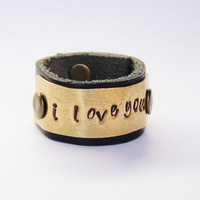 i love you ring -  leather band ring - stamp words rings - hand stamp -  love rings - words rings - friendship jewelry -