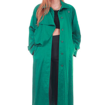 80s Vintage Iridescent Emerald Green Trench Coat Heavy Nylon Asymmetrical Draped Batwing Metallic Raincoat Womens Clothing Size XL XXL