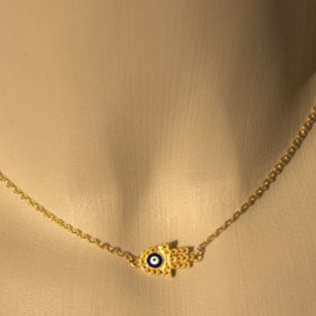 EVIL EYE HAMSA Necklace, Dainty Necklace-Gold Plated Protection