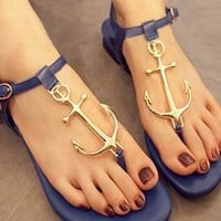 Flat Sandals with Anchor Embellishment Blue from topsales