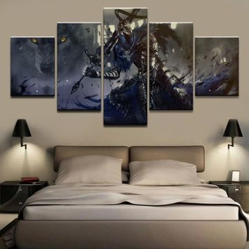 Modular Picture Home Decorative Wall Art Draw 5 Panels Game Dark Souls Warrior Poster For Modern Bedroom Canvas Painting