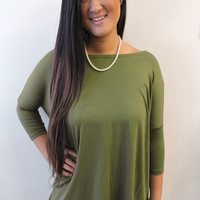 Olive 3Q-Sleeve Piko Top