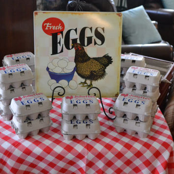"Personalized Egg Carton Farm Animal/Barnyard Party Favor Kit...Includes egg cartons, ""rubber duckie"" farm animals, stamps, stickers & more!"