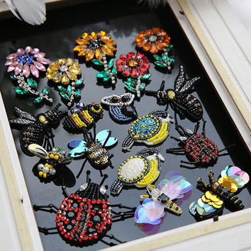 Beads Patches Sew On for Jackets Shoes jeans bags, 3D Birds Flower Crystal Patches