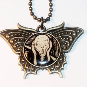 The Scream Necklace, Edvard Munch, Fine Art, Screaming, Bronze Butterfly Pendant