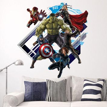 Fange DIY Removable 3D View The Avengers Captain America Art Mural Vinyl Waterproof Wall Stickers Kids Room Nursery Decor Decal Sticker 23.6''x23.6''