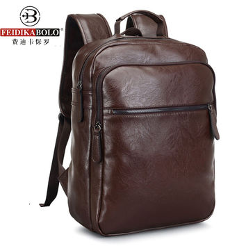 Men Leather Backpack For Laptop Male Business Mochilas Couro Masculina Motorcycle Back Pack Travel Rucksack School Book Bag 2016