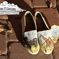 Friendship on the Horizon Hand Painted TOMS by Room17Gallery