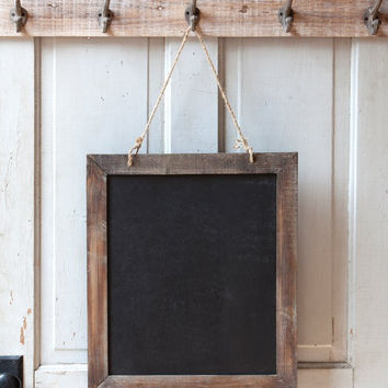 Vintage Rustic Rough Wood Framed Chalkboard - 18 x 20-1/2-in
