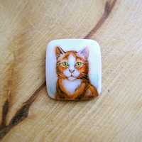 Animal Brooch Red Ginger Cat, cat jewelry