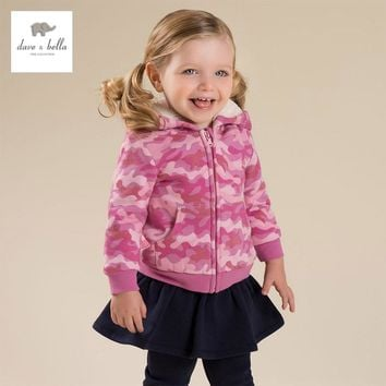 DB4136 davebella autumn baby girls pink camouflage coat  girls hooded coat