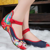 Womens Ladies Chinese Embroidered Flower Flats Ballet Shoes Cotton Mary Janes