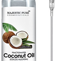 Majestic Pure Fractionated Coconut Oil 16 Oz - 100% Pure & Natural - One of the Best Aromatherapy Carrier Oils - Moisturizer & Softener, Excellent as a Massage Oil with Numerous Skin & Hair Benefits