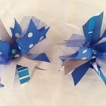 Set of two blue spiked hair bows