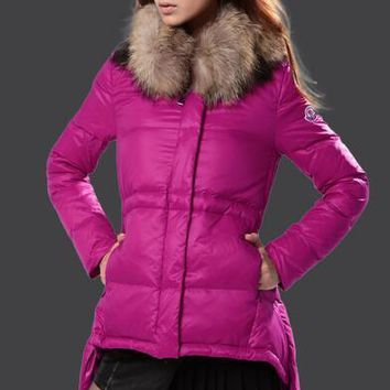 Moncler Luxury Fur Collar Womens Down Coat 8817