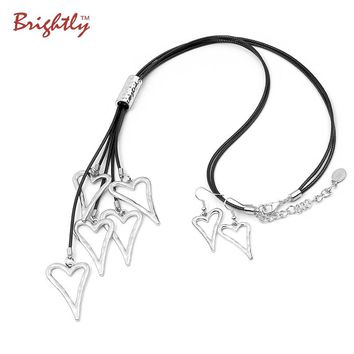 Brightly Love Heart Pendant Necklace Silver Plated Long Necklace for Women Neo Gothic Multi Rope Chain for Valentine Day Gift