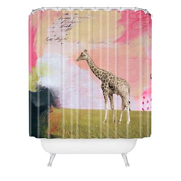 Natalie Baca Abstract Giraffe Shower Curtain