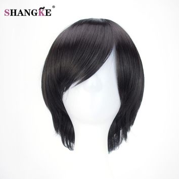 SHANGKE Synthetic Wigs Short Straight Hair 10 Colors Red Green Brown Purple Cosplay Wig Girls Ombre Costume Party Peruca