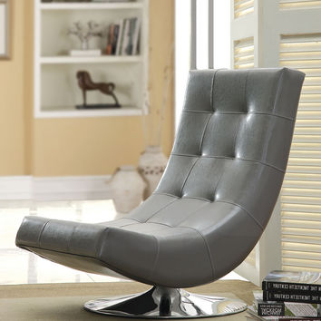 Trinidad contemporary style gray leather like vinyl hammock style tufted swivel scoop chair with chrome base