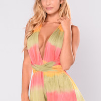 Hot Summer Day Tie Dye Romper - Multi