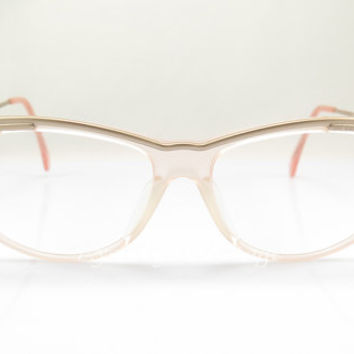 Jil Sander , Vintage Eyeglasses , Transparent , Pink , Light Peach And Gold , Sunglass Frames , NOS