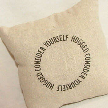 Consider Yourself Hugged Pillow by cayteelynn on Etsy
