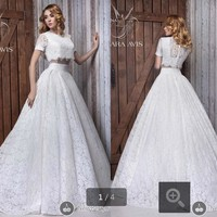 2015 New Vintage Beach Lace Modest Wedding Dresses  Short Sleeves Bridal Gowns Formal two piece Wedding gowns