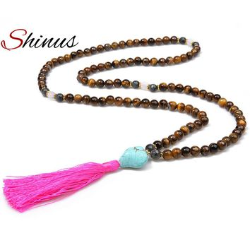 Shinus Tiger Eye Necklace Mala Beads Necklaces Yoga Jewelry Gifts Women Natural Stones Long Tassel Prayers Meditation Handmade