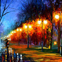 """Fall, Rain, Alley... — PALETTE KNIFE Landscape Oil Painting On Canvas By Leonid Afremov - Size: 36"""" x 30"""" (90 cm x 75 cm) from afremov art"""