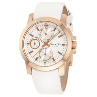 Kenneth Cole KC2695 Women's New York White Dial Rose Gold Steel White Leather Strap Watch