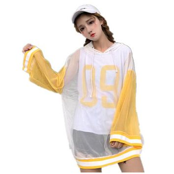 Korean Summer Casual fashion loose hooded Perspective mesh sleeves smock + 09 digital print vest T shirt crop top Two Piece Set