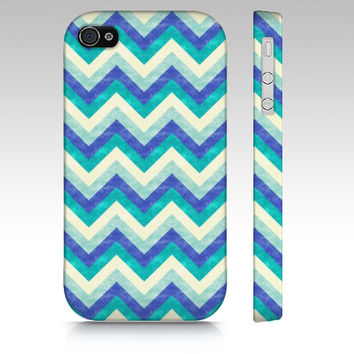 Chevron iPhone 4s case, iPhone 5 case, iPhone 5s case, colorful zigzag, trendy fashion case, geometric in ocean blue colors art phone case