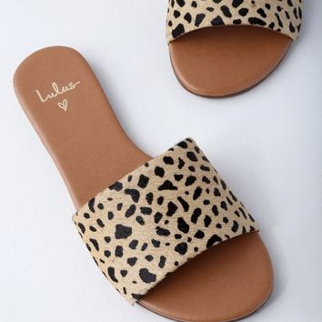 Tara Leopard Calf Hair Leather Slide Sandals