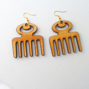 Gorgeous Handmade Afro Pick Duafe Symbol Wooden Comb Laser Cut Earrings