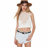Halter Mesh Cutout Detail  Knitted Cropped Top