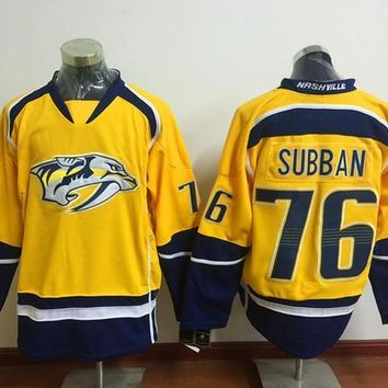 2016 Latest Nashville Predators PK Subban Ice Hockey Jerseys Yellow 76 P.K P K Subban Jersey Men Fashion Team Color All Stitched Quality