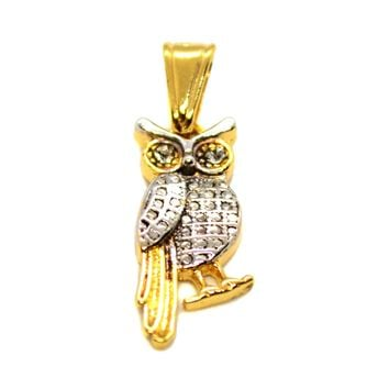 (1-2226-h8) Gold Overlay Two Tone Owl Pendant.