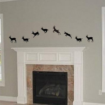 Running Deer Vinyl Wall Art Decals Animal by ChuckEByrdWallDecals
