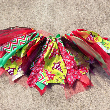 Christmas tree tutu winter tutu holiday Fabric Scrap by LilNicks