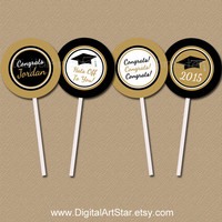 Personalized Black and Gold Graduation Cupcake Toppers - DIY Printable Party Circles - Class of 2015 Grad Cupcake Picks - Custom Colors