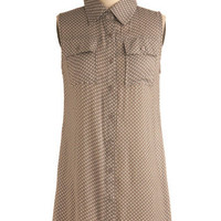 Taupe of the Heap Tunic | Mod Retro Vintage Short Sleeve Shirts | ModCloth.com
