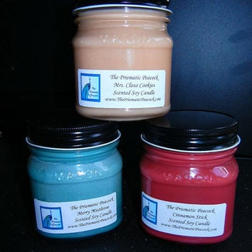 Choose Any Three 8oz Mason Jar Soy Candles Custom Made Select Your Scents Pay One Shipping Price