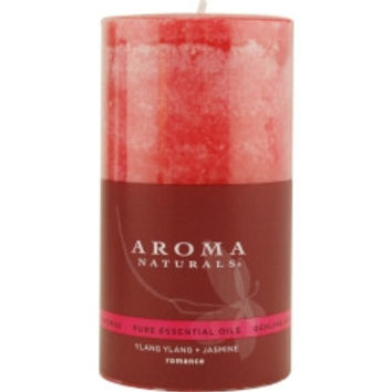 Romance Aromatherapy ROMANCE AROMATHERAPY ONE 2.75 X 5 inch PILLAR AROMATHERAPY CANDLE.  COMBINES THE ESSENTIAL OILS OF YLANG YLANG & JASMINE TO CREATE PASSION AND ROMANCE.  BURNS APPROX. 70 HRS. UNISEX