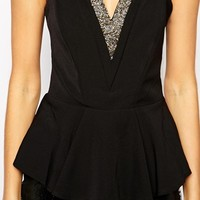 Michelle Keegan Loves Lipsy Peplum Top With Embellished Trim