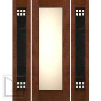 "Prehung Prehung 2-1/4"" Thick Mahogany Door Heavy Iron Side Low-E Matte Glass"