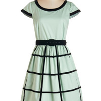 ModCloth 50s Long Cap Sleeves Fit & Flare As Grid as It Gets Dress
