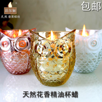 Animal Owl Glass Aromatherapy Candle Smokeless Environmental Friendly Natural Essential Oil Scented Candle Home Decoration Craft