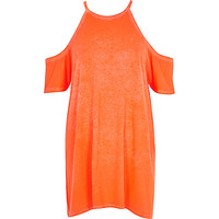River Island Womens Orange cold shoulder oversized t-shirt